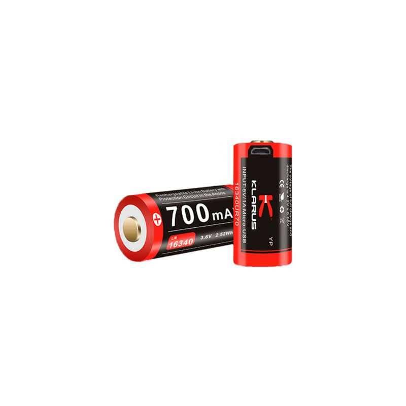 batterie 16340 micro usb klarus