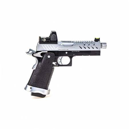 Vorsk Pistolet Hi-Capa 4.3 Chrome Gaz avec Red Dot