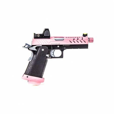 Vorsk Pistolet Hi-Capa 4.3 Rose Gaz avec Red Dot