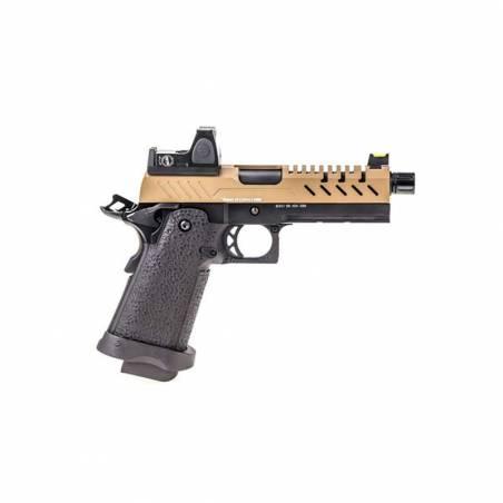 Vorsk Pistolet Hi-Capa 4.3 Noir & Tan Gaz avec Red Dot