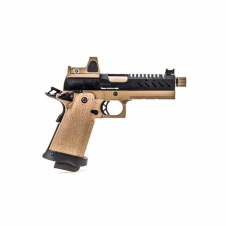 Vorsk Pistolet Hi-Capa 4.3 Tan & Noir Gaz avec Red Dot