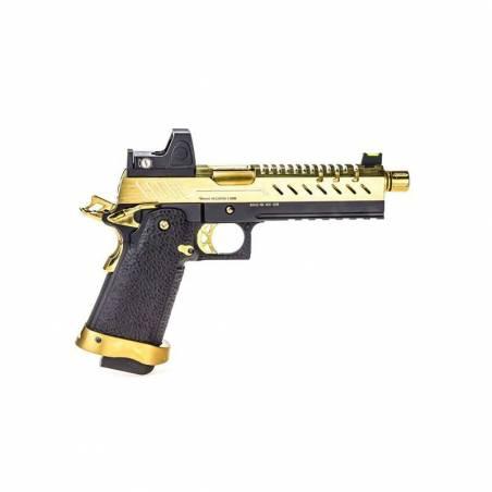 Vorsk Pistolet Hi-Capa 5.1 Or Gaz avec Red Dot