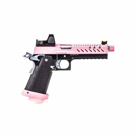 Vorsk Pistolet Hi-Capa 5.1 Rose Gaz avec Red Dot